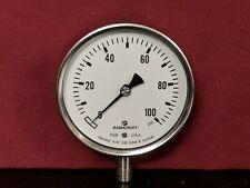 "Ashcroft Pressure Gauge 0-100 PSI 4"" Face 316 SS Tube Socket Bottom Connection"