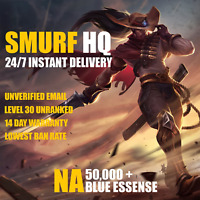 [NA 50K+] League of Legends Account LOL Smurf 50,000 - 60,000 BE IP Unranked 30+