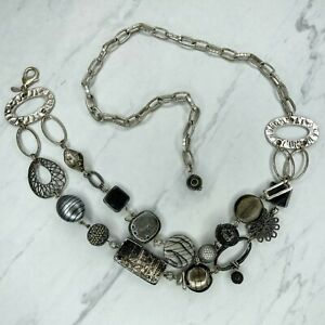 Chico's Silver Tone Chunky Beaded Belly Body Chain Link Belt OS One Size