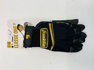 Franklin Sports Classic One LT Baseball Batting Gloves Black Gold Adult large