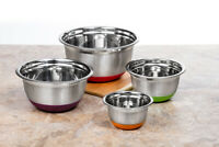 4 Pcs Stainless Steel Mixing Bowls Set w/ Silicone Base (MultiColors)