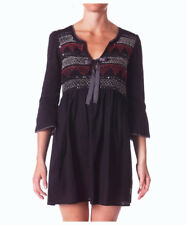 Odd Molly Sz 1 Black 'Remix' Smocked Sequin Embroidered 3/4 Sleeve Dress