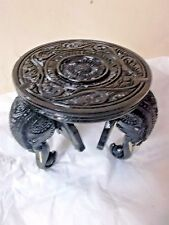 WOODEN ELEPHANT HEAD ROUND Table ORNAMENT DECORATIVE TABLE DECOR FLORAL CARVED