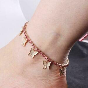 Gold Butterfly Tennis Anklet Rhinestone Jewelry Women Pendant Gifts 2020 N9D9
