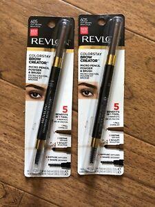 2X Revlon Colorstay Brow Creator Micro Pencil Powder & Brush 605 SOFT BROWN  R18