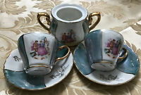Lusterware Japan Hand Painted Courting Couple Demitasse Set Cup Saucer &Creamer