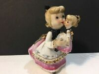 Vintage Lefton Pink Girl Angel w Look A Like Baby Doll & Tag Figurine Japan 1955