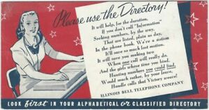 WWII Illinois Bell Telephone Co. Don't Use the Operator American Wartime Blotter
