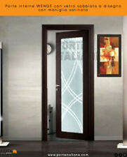 Doors Internal Wenge With Glass Sandblast A Design With Handle Satin