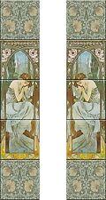 Fireplace Set Tile Ceramic Alphonse Mucha Art Nouveau Reproduction #5