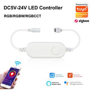TUYA ZIGBEE Led Controller DC5V-24V RGB RGBW RGBCCT Strip Voice Control Fr Alexa
