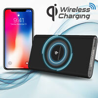 Power Bank Qi Wireless Charging 10000mAh 2 USB Fast Portable Battery Charger NEW