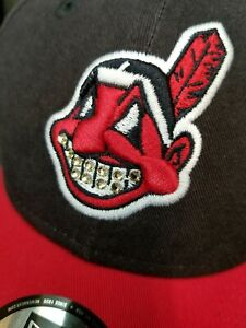 Cleveland Indians New Era 49forty Cheif Wahoo Iced Out Grill Swarovski Crystals