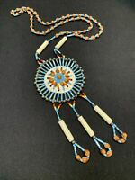 """Southwestern Native American Hand Beaded  Pendant Necklace Nut Accents 26"""""""