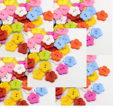100 Mixed Color Flower Shape Resin Cartoon Buttons Plastic 14mm