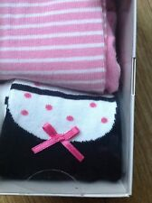 BABY GIRLS TIGHTS AGE 0-6 MONTHS HEIGHT 27 IN  M&S 2 PAIR PINK/WHITE/BLACK NEW