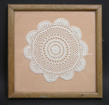 Early 20th Century Crochet Doily Textile in Later Frame Home Made