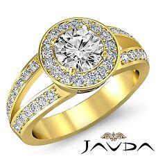 Split Shank Round Diamond Engagement Halo Ring GIA G VS2 18k Yellow Gold 2.05ct