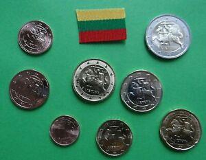 Lithuania Lituania Lituanie EURO coin set 1 cent - 2 Euro * NEW UNC Europe coins