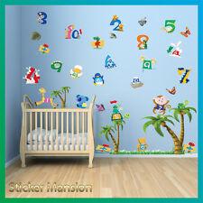 Animal números pegatinas de pared vivero de selva bebé niños dormitorio decoración calcomanías