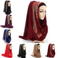 Women Muslim Hijab Shawls Golden Lace Long Scarves Islam Head Wraps Headwear---