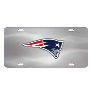 Fanmats NFL New England Patriots Chromed Steel Diecast Logo Front License Plate