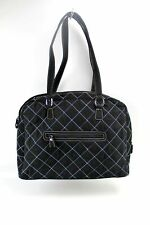 Vera Bradley Black Quilted Laptop Computer Shoulder Work Bag Blue Flower Lining