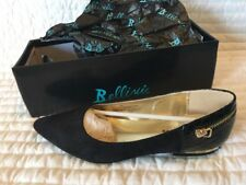 Bellini Womens Black Pointed Ballet Loafer Pumps, Size 11 M Suede Brand New