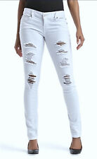 Nwt Almost Famous Juniors' White Destructed Skinny Leg Jeans Size 3 - Msrp $48