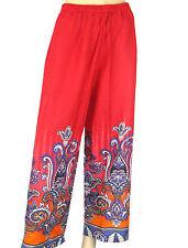 Ladies Red Paisley Pyjama Bottoms - Womens Floral Print Trousers - Nightwear