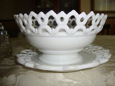 Vintage Milk Glass Fruit Bowl with Matching Plate
