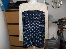 MODA/GEORGE CASUAL NAVY AND CREAM SPOT FRONT LONG SLEEVES JUMPER SIZE 16