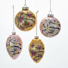 T1904 Set/4 Asian Spring Flower Blossom 80mm Ball Onion Glass Ornament Gold Pink