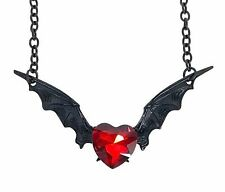 Red Heart Stone Black Bat Wings Necklace Pendant Goth Punk Jewelry Vamp Dracula