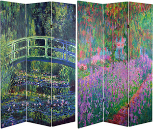 Oriental Furniture 6 ft. Tall Double Sided Works of Monet Canvas Room Divider -
