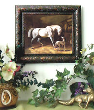 Herring Thoroughbred Gray RACE Horse Print Framed 11X13 Print picture