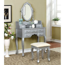 Harriet Vanity Table Makeup Desk Mirror Drawer Jewelry Hutch Fabric Bench  Silver