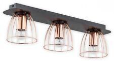 Metal Wire 3 Flush Lights Copper Lampshade Black Matt Fitting - Industrial Reda