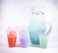 Mid Century Blendo Frosted Pastel Blue Pitcher and 5 Frosted Pastel Glasses
