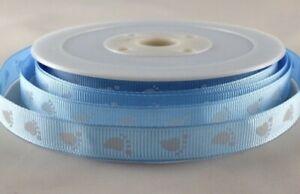 Baby Blue Baby Feet Ribbon Baby Shower Present Boy SOLD PER METER 10mm crafts UK