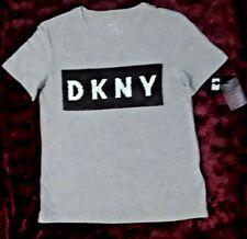 DKNY CREW GREY COLOUR SIGNATURE SEQUIN LOGO T-SHIRT SHORT SLEEVES UK SIZE 8 BNWT