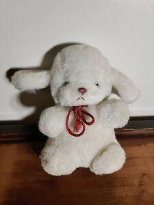 """Vintage Gund 1982 White """"Smooch"""" Puppy Dog Red Rope Tie w/ rattle plush stuffed"""