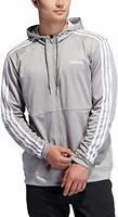adidas Men's Tech Full Zip Hoodie Performance Track Jacket X-Large Grey White XL