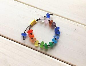 Handmade Rainbow Beach Sea Glass Bracelet, Adjustable String Knot Sennit Jewelry