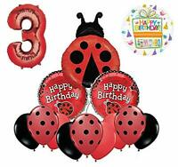 Mayflower Products Ladybug 3rd Birthday Party Supplies Balloon Bouquet Décor