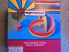"Poptimism! Inflatable Swimming Kiddie Pool w/ Removable Canopy Shade 59"" X 54"""