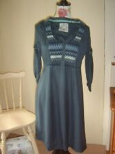 Fat Face Petrol Blue Embroidered Smocking Peasant Folk BOHO Dress Small 8 or 6