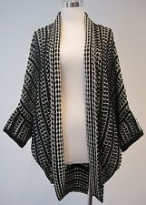 Anthropologie Moth Open Front Cardigan Batwing Styl Black Cotton Blend Sweater S