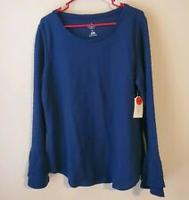 NWT St. John's Bay XL Textured royal blue long Bell Sleeve Top blouse sweater