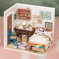 Rolife DIY Wooden Dollhouse Miniature Bedroom Kits with Led light Gift for Girls